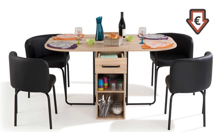 ensemble table gain de place 4 chaises 2 coloris au. Black Bedroom Furniture Sets. Home Design Ideas