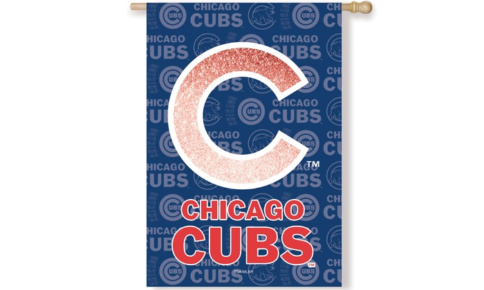 Chicago Cubs Metallic and Suede House Flag: Chicago Cubs Metallic and Suede House Flag