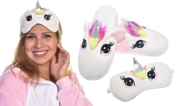 e024ad09a04 Angelina Women s Unicorn Sleep Mask and Slipper Gift Set