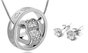 (Bijou)  Collier et boucle d'oreille cristaux Swarovski® -88% réduction