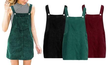 Corduroy Dungaree Mini Dress
