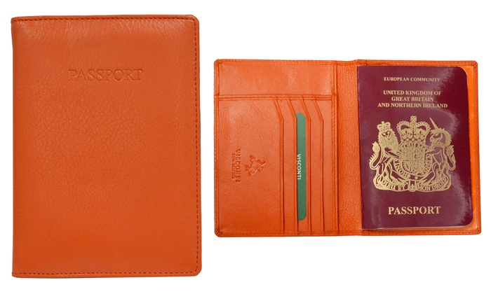 Travel Blue Leather Passport Cover with RFID Blocking Identity Theft Protector