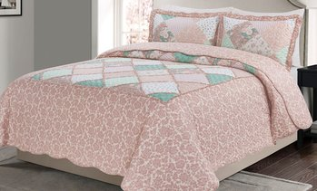 MHF Home Floral Patchwork Reversible Quilt Set (2- or 3-Piece)