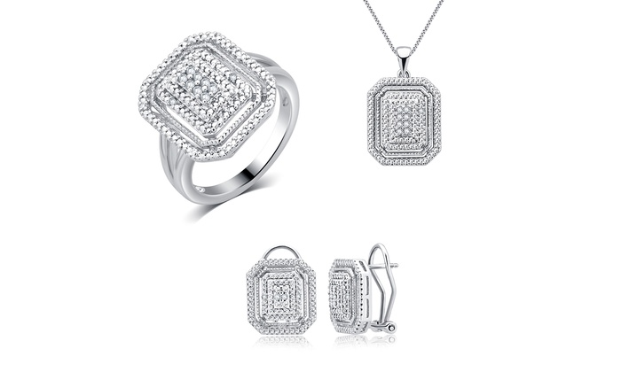 0 25 CTTW Square Frame Diamond Jewelry Set 3 Piece