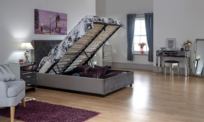 Hampshire Chenille Ottoman Storage Bed with Optional Mattress