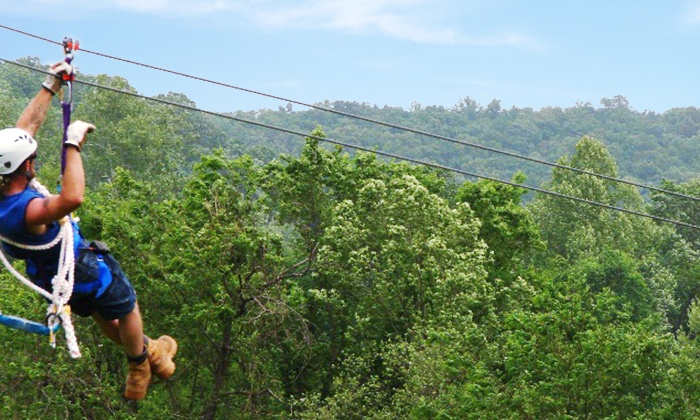 Blue Springs Ranch - Liberty: Zipline Tour or a One-Night Canoe and Camping Trip at Blue Springs Ranch (Up to 55% Off)