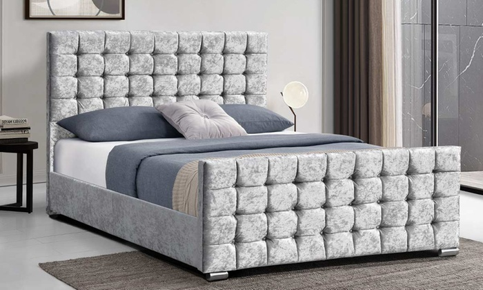 Double or King Size Velvet Upholstered Bed Frame with Optional Spring Mattress