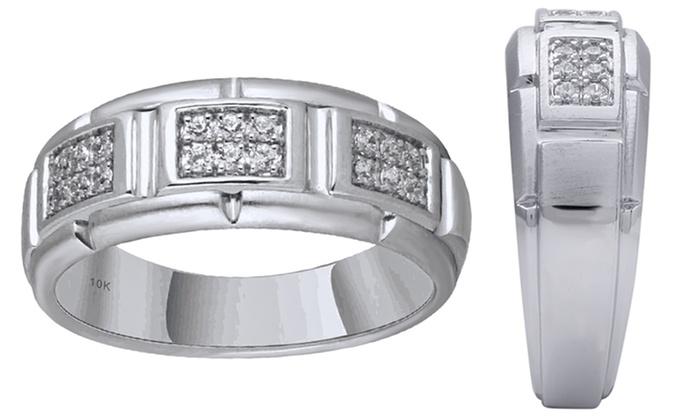 14 CTTW Mens Diamond Wedding Band in 10K White Gold by Diamond Hub