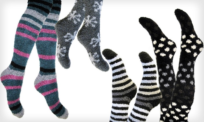 Chinese Laundry Cozy Crew or Knee-High Socks: Four-Pack of Chinese Laundry Socks (Up to 53% Off). Multiple Styles Available. Free Shipping on Purchases Over $15 and Free Returns.