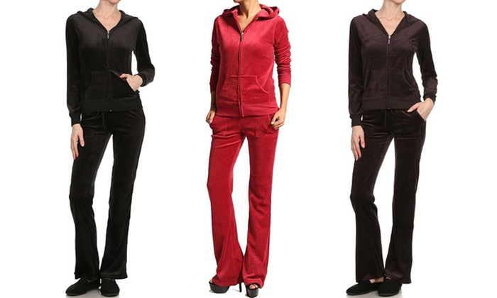 Women's Velour Hooded Jacket and Pants Set (2-Piece)