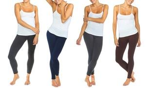 Women's Solid Fleece-Lined Leggings (4-Pack)