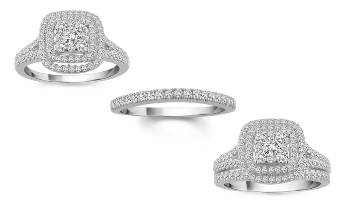 Up To 40 Off on 100 CTTW Diamond Bridal Set Groupon Goods