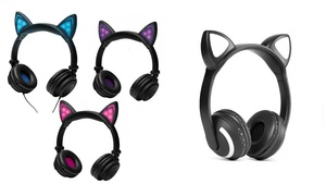 iWave LED Light-Up Cat Ear Headphones Wired or Bluetooth
