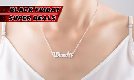 Personalised Sterling Silver Name Necklace with Optional Diamond: One ($20) or Two ($44) (Don't Pay up to $298.54)