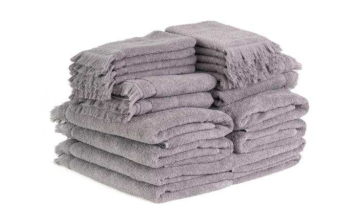18-teiliges Handtuch-Set inSchokolade oder Silber (56% sparen*)
