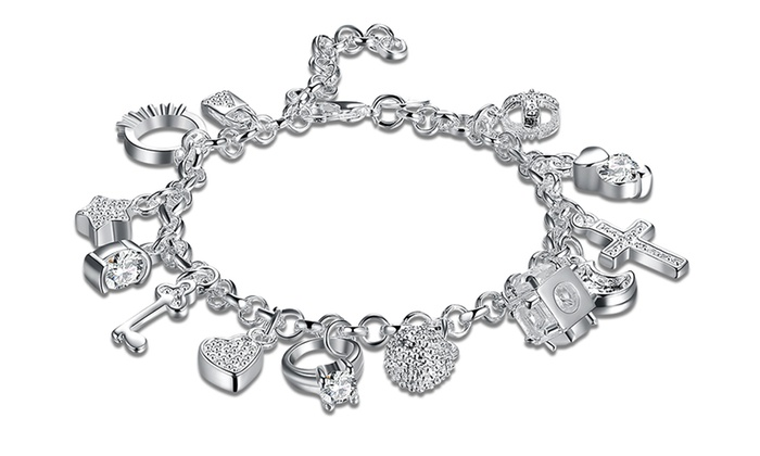 for charm silver hearts sterling and girls crosses bracelet religious