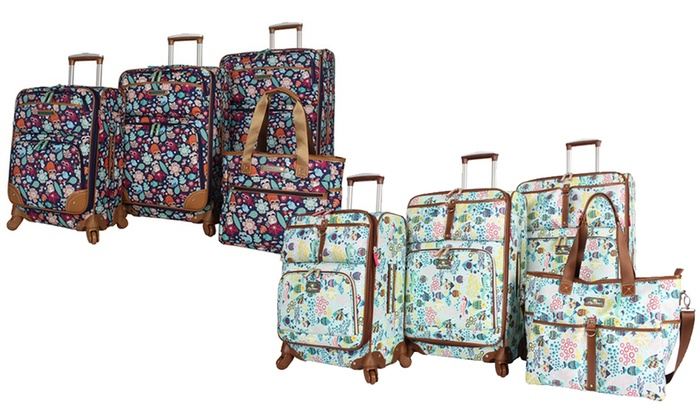 028111377fe3 Lily Bloom Expandable Spinner Luggage Set (4-Piece) | Groupon