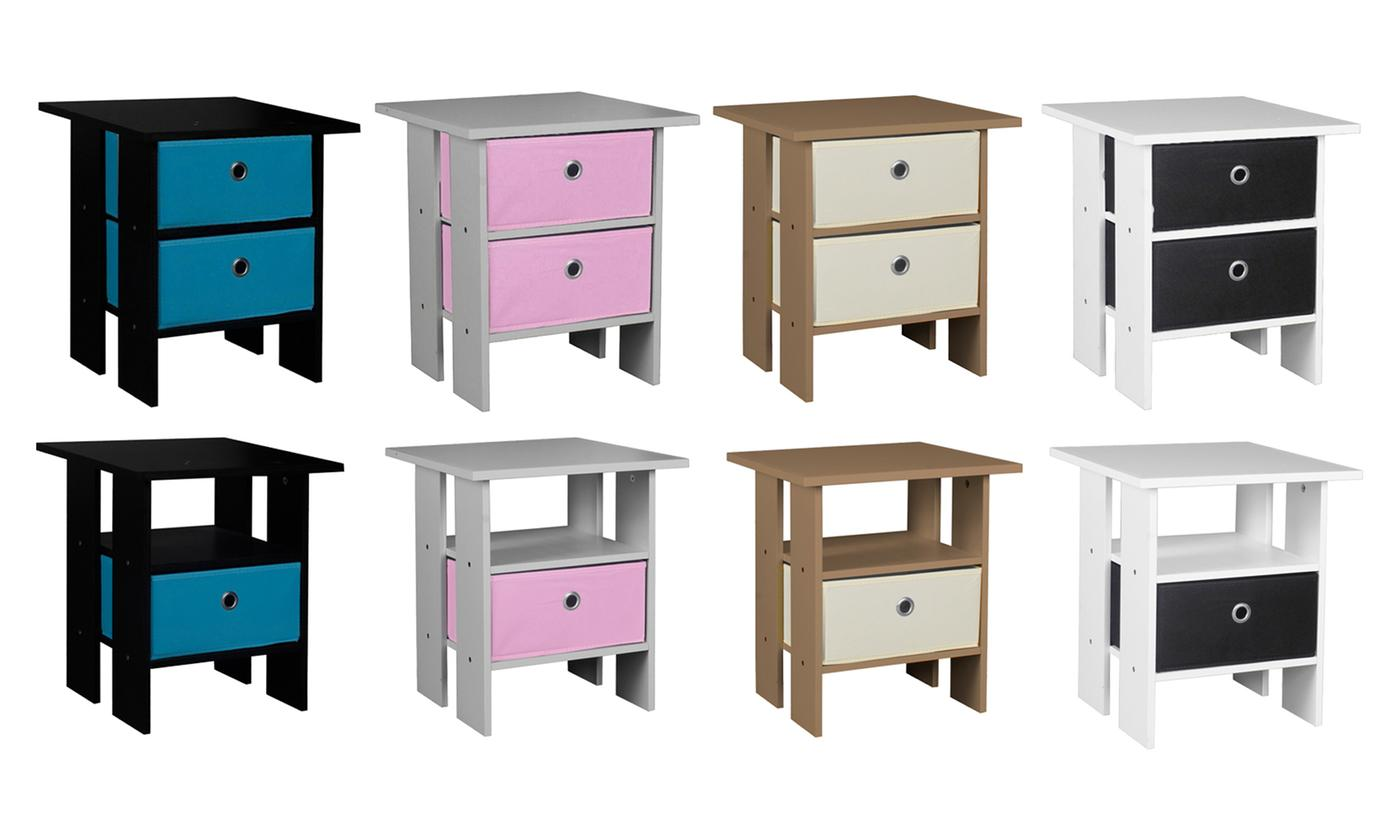 Two-Tier Wooden Nightstand with One or Two Drawers