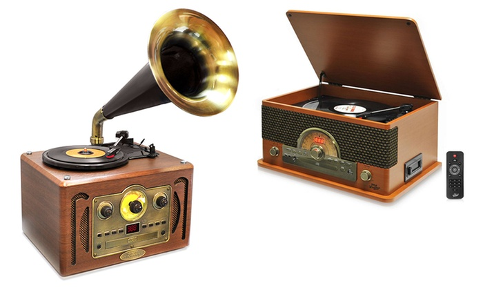 Retro Record Players. Options with Bluetooth and Vinyl-to-MP3 Recording Available.