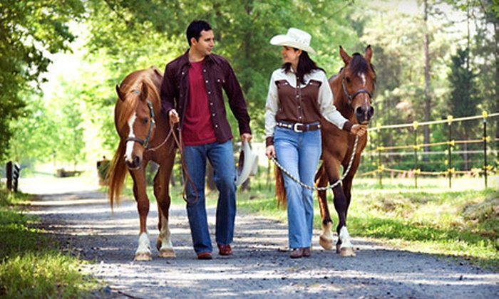 Sand and Sage Tours - Las Vegas: Riding Package with Campfire Dinner for Two or Guided Horseback Ride for Two from Sand and Sage Tours (Up to 53% Off)