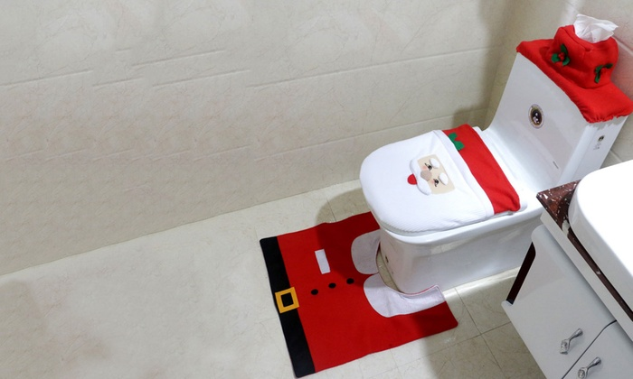 BeeCool: One (AED 59), Two (AED 99) or Three (AED 139) Christmas-Themed Toilet Decoration Sets