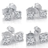Diamond Miracle Plate Stud Earrings in Sterling Silver or White Gold