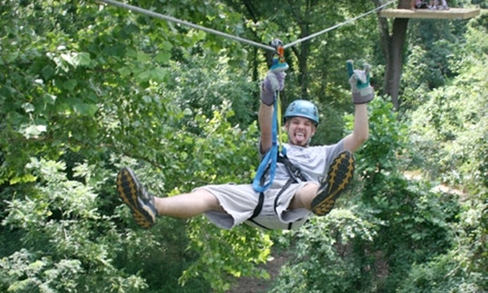 Carolina Ziplines Canopy Tour - Raleigh / Durham: $40 for a Two-Hour Adult High-Course Zip-Line Tour from Carolina Ziplines Canopy Tour in Westfield ($80 Value)