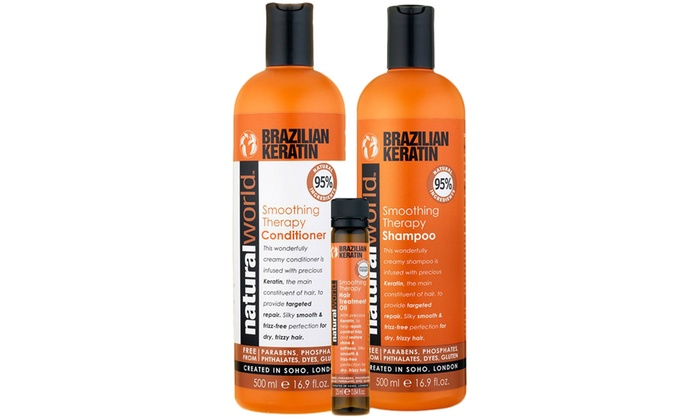 Natural World Brazilian Keratin Oil Shampoo, Conditioner and Oil Set for £6.98
