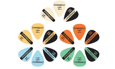 30-Pack of ChromaCast Light-, Medium-, or Heavy-Gauge Vintage Guitar Picks.