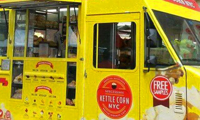 Kettle Corn NYC - Food Truck Locations: Two Large Bags of Popcorn or Three Medium Bags of Popcorn at Kettle Corn NYC (Up to 52% Off)