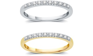 1/10 CTTW Diamond Wedding Band in 10K White & Yellow Gold By DeCarat