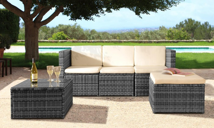 One or Two Monaco Loungers or Tuscany, Mahe, Mustique or Maratea Rattan-Effect Garden Furniture Set with Optional Cover from £83.99