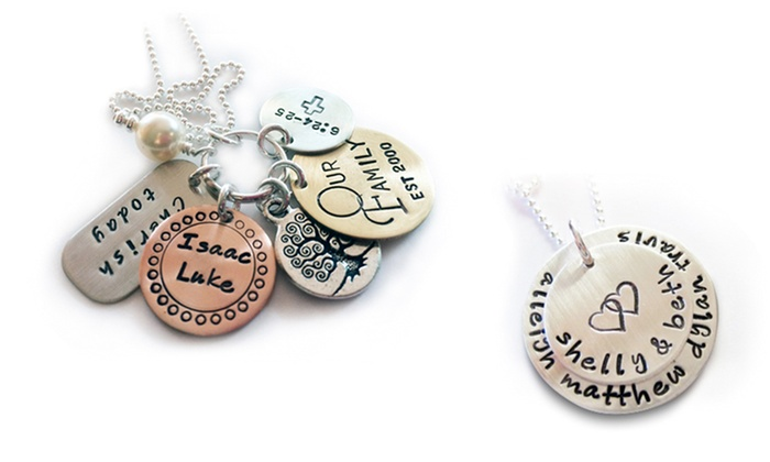 LillyEllenDesigns: One or Two Stacked Family Necklaces or My Family Charm Necklaces from LillyEllenDesigns (Up to 71% Off)