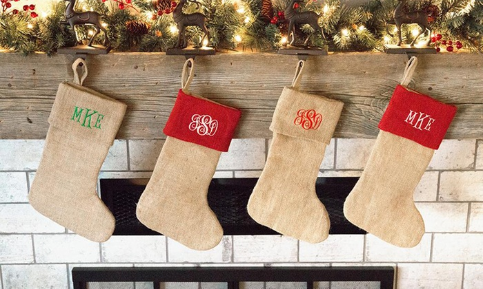 1 2 3 5 or 10 personalized burlap christmas stockings from qualtry up to 84 off - Burlap Christmas