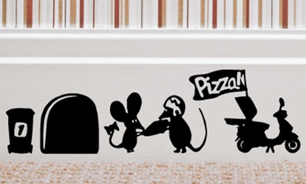 One, Two or Five Packs of Mouse Skirting Board Wall Stickers