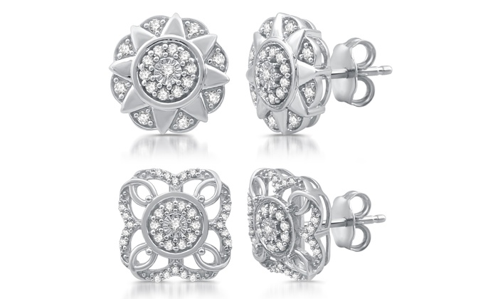 1 3 Cttw Diamond Stud Earrings In Sterling Silver By Decarat