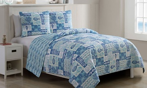 Reversible Lightweight Quilt Set (3-Piece) Multiple Styles Available.
