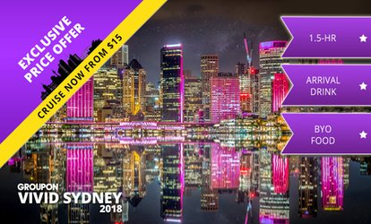 image for 90-Minute Vivid Festival Cruise + Bubbly: Friday or Sunday ($15), Saturday ($19) with Cruise Vivid (Up to $60 Value)