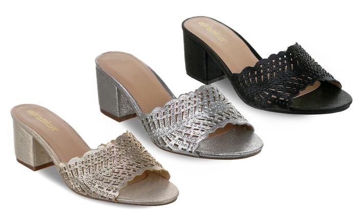 Chunky-Heel Laser-Cut Mule Sandals
