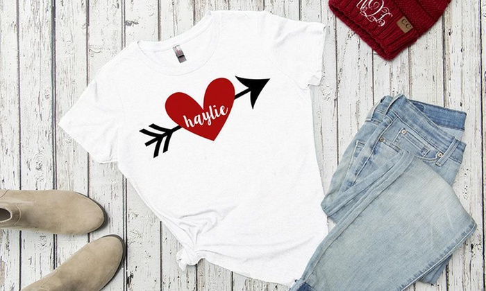 Qualtry: One, Two, or Three Personalized Love Themed Ladies T-Shirts (Up to 52% Off)