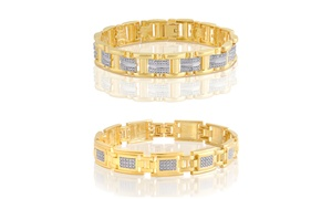 18K Gold Plated Diamond Accent Men's Bracelets by Brilliant Diamond