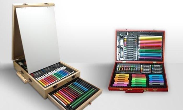 mallette en bois et accessoires pour dessin et peinture au choix groupon shopping. Black Bedroom Furniture Sets. Home Design Ideas