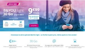 Bouygues Telecom: Forfait mobile sans engagement B&You light 30Go jusqu'à 2Mb/s. à 9,99€/mois pas seulement la première année
