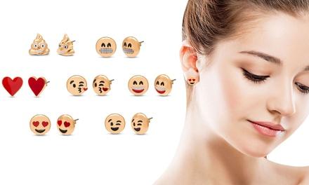 Fino a 7 paia di orecchini Emoji OMG Jewel placcati oro giallo
