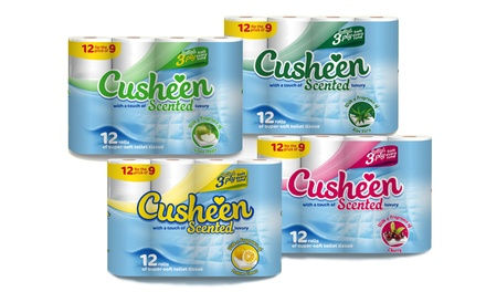 60 or 120 Rolls of Cusheen Quilted Luxury Toilet Tissues Cherry, Apple, Aloe Vera and Lemon from £14.99