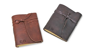 Monogram Online: Personalized Genius Leather Bound Notebook or Antiqued Genius Leather Notebook from Monogram Online (Up to 93% Off)