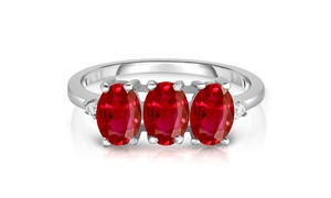 3.00 CTTW Ruby 3 Stone Sterling Silver Ring by Valencia Gems