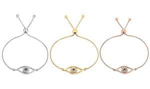 Mina Bloom Evil Eye Adjustable Bracelet Made with Swarovski Crystal