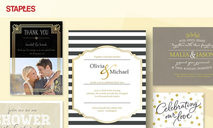 staples multiple locations custom wedding invitations and save the date cards at staples - Wedding Invitations Staples