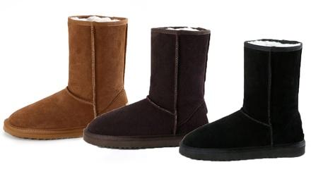 Boots fourrées en cuir et laine mérinos pour femme